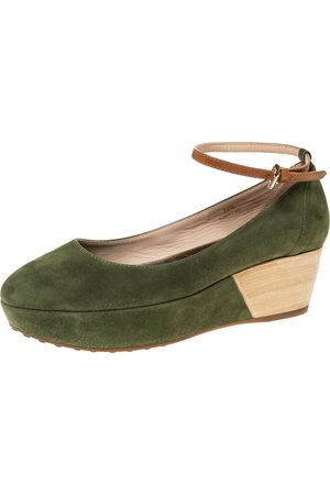 Tod's Green Suede Ankle Strap Platform Wedge Pumps Size 38.5