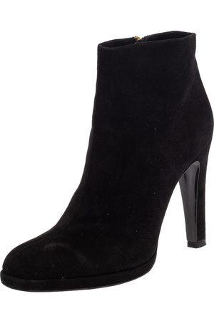 Etro Black Suede Ankle Platform Boots Size 39.5