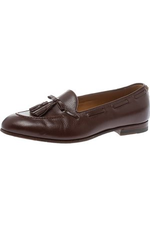 Gucci Brown Leather Tassel Loafers Size 41