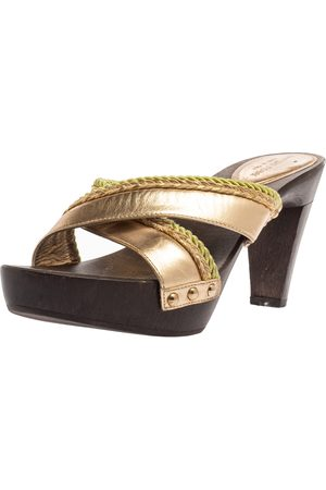 Sergio Rossi Gold Criss Cross Leather Platform Wooden Slide Sandals Size 40