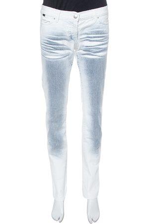 Roberto Cavalli White Ombre Distressed Flared Bottom Jeans M