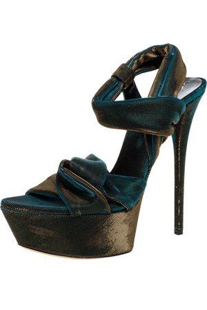 Casadei Multicolor Lame Fabric Platform Ankle Strap Sandals Size 38