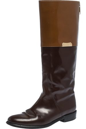 Burberry Two Tone Leather Logo Embellished Knee High Boots Size 37