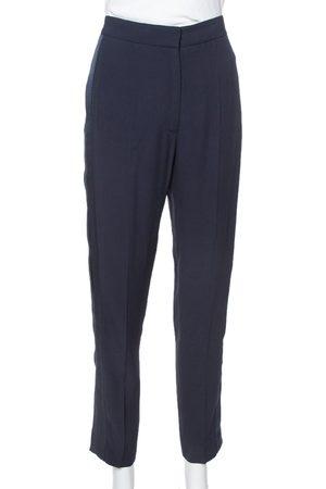 Stella McCartney Navy Blue Crepe Side Slit Detail Trousers S