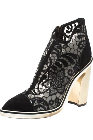 Nicholas Kirkwood Black Suede and Embroidered Mesh Block Heel Ankle Boots Size 36.5