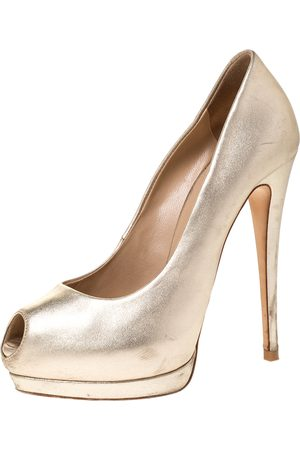 Giuseppe Zanotti Metallic Gold Leather Peep Toe Platform Pumps Size 36.5