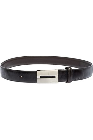 Burberry Black Leather Logo Plaque Buckle Belt 90CM