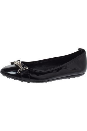 Tod's Black Patent Leather Double T Ballet Flats Size 36