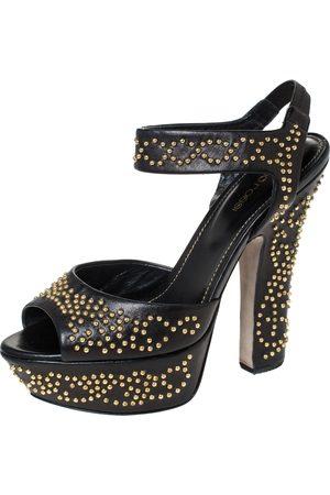 Sergio Rossi Black Leather Studded Platform Ankle Strap Sandals Size 36