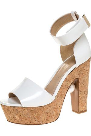 Nicholas Kirkwood White Leather Maya Pearl Detail Wedge Platform Ankle Strap Sandals Size 39
