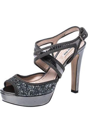 Miu Miu Metallic Grey Glitter And Suede Leather Trim Cross Strap Peep Toe Platform Sandals Size 37.5