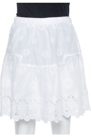 Diane von Furstenberg White Eyelet Cotton Sadey Skirt XS