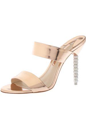 SOPHIA WEBSTER Rose Gold Foil Leather Crystal Embellished Heel Slide Mules Size 39