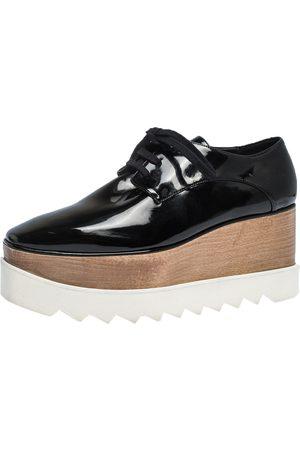 Stella McCartney Black Faux Patent Leather Elyse Platform Derby Size 37.5