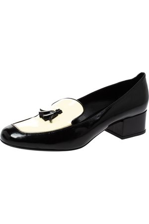 Saint Laurent Saint Laurent Black/White Patent Leather Babies Tassel Loafers Size 38