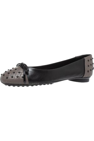 Tod's Black/Grey Leather Dew Ballet Flats Size 38