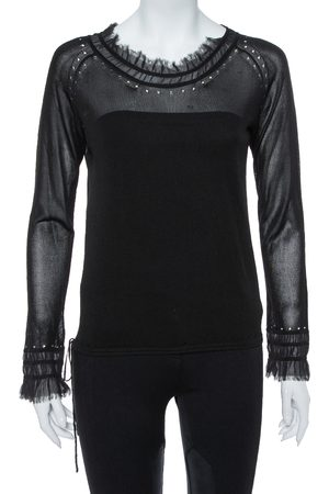 Kenzo Black Knit Waist Tie Detail Long Sleeve Top M