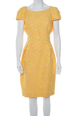 CH Carolina Herrera Yellow Floral Jacquard Sheath Dress XL