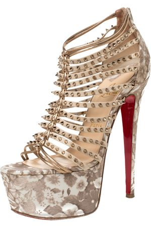 Christian Louboutin Beige/Gold Leather Spike Millaclou Cage Platform Sandals Size 38