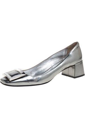 Prada Silver Glossy Leather Crystal Buckle Block Heel Pumps Size 39