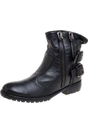 Giuseppe Zanotti Black Leather Buckle Ankle Boots Size 43