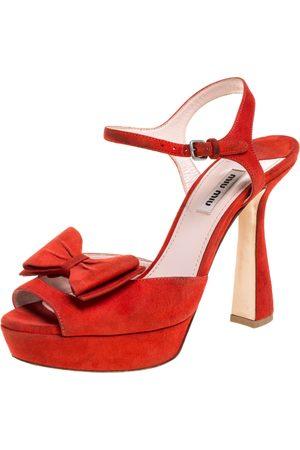 Miu Miu Red Suede Bow Ankle Strap Platform Sandals Size 39