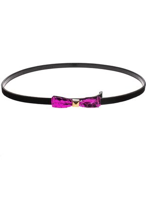 Marc Jacobs Black/Purple Suede and Patent Leather Bow Belt 90CM