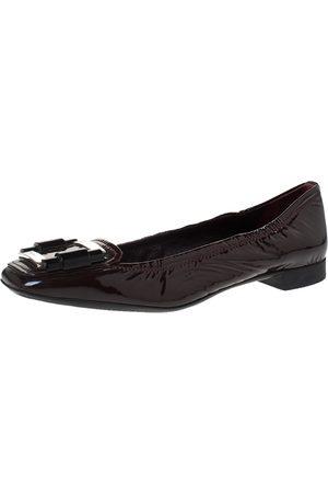 Prada Burgundy Patent Leather Square Toe Ballet Flat Size 39.5