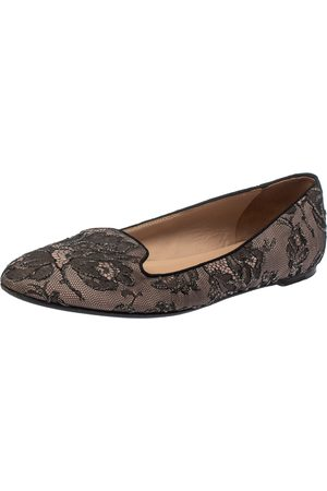 VALENTINO Black Glitter Lace Smoking Slippers Size 39