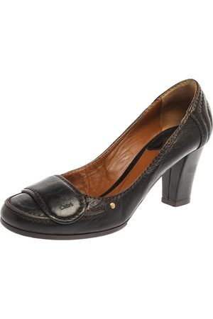 Chloé Brown Leather Round Toe Block Heel Pumps Size 37