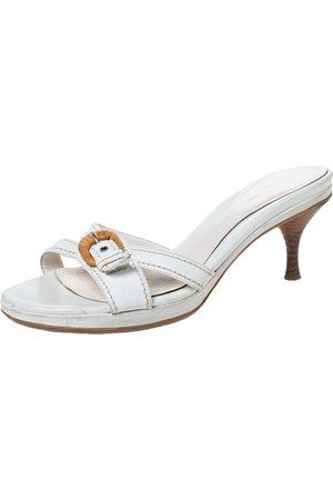 Sergio Rossi White Leather Buckle Detail Platform Slide Sandals Size 39.5