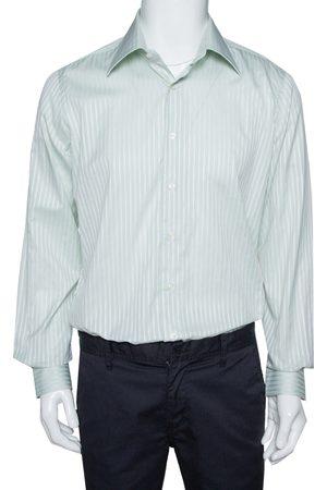 VALENTINO Pale Green Striped Cotton Long Sleeve Shirt XXL