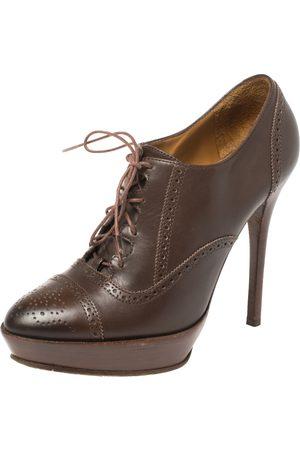 Ralph Lauren Ralph Lauren Brown Leather Brogue Platform Booties Size 38.5