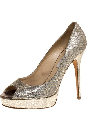 Jimmy Choo Gold Glitter and Patent Leather Dahlia Platform Pumps Size 39