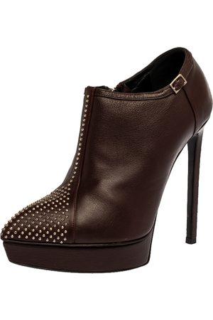 Saint Laurent Brown Leather Studded Platform Ankle Booties Size 36