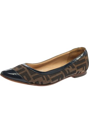 Fendi Blue/Brown Zucca Canvas And Leather Ballet Flats Size 37.5
