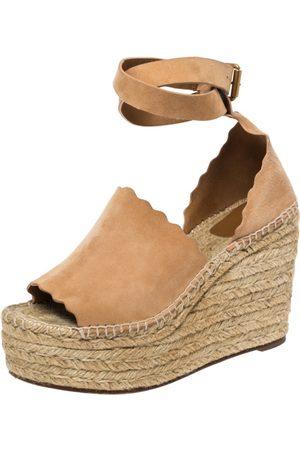 Chloé Beige Suede Scalloped Trim Lauren Ankle Wrap Espadrille Platform Wedge Sandals Size 38