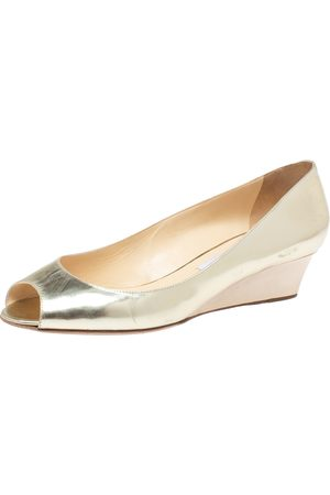 Jimmy Choo Gold Patent Leather Baxen Wedge Peep Toe Pumps Size 40