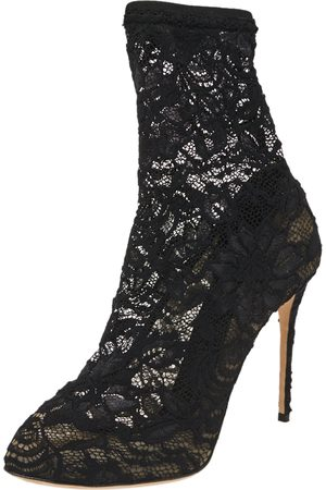 Dolce & Gabbana Black Stretch Lace Pointed Toe Ankle Booties Size 40.5