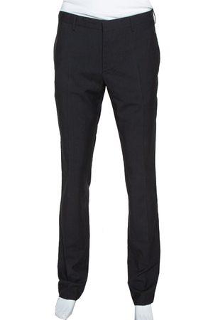 Prada Black Pinstriped Mohair & Silk Tailored Trousers L