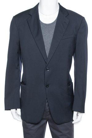 Armani Navy Blue Wool Button Front Classic Blazer 3XL