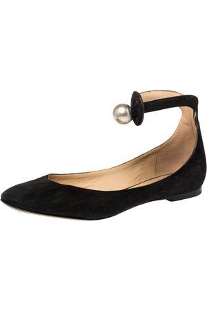 Chloé Black Suede Ankle Strap Ballet Flats Size 38.5
