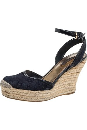 LOUIS VUITTON Dark Blue Monogram Denim Ankle Strap Espadrille Wedge Sandals Size 37.5