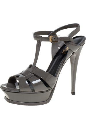 Saint Laurent Grey Patent Leather Tribute Platform Sandals Size 39.5