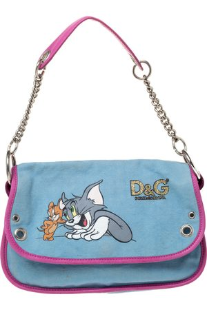 DandG D&G Light Blue/Pink Tom and Jerry Print Canvas and Leather Flap Chain Shoulder Bag