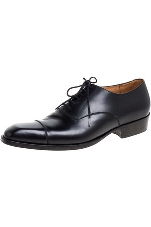 J.M.Weston Black Leather Lace Up Square Toe Derby Size 40