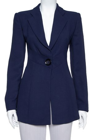 Emporio Armani Navy Blue Crepe Paneled Button Front Blazer M
