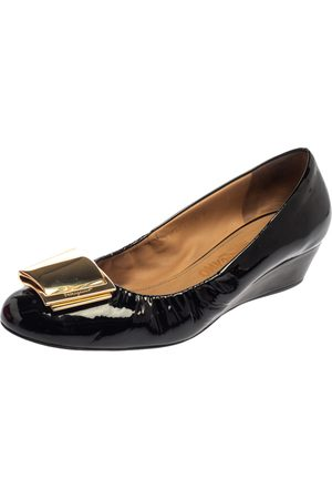 Salvatore Ferragamo Black Patent Leather Tilda Wedge Pumps Size 39.5