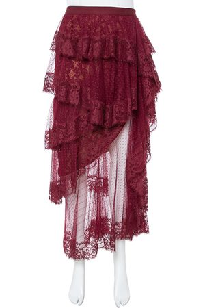 Elie saab Burgundy Plumetis Tulle Tiered & Ruffled Skirt S