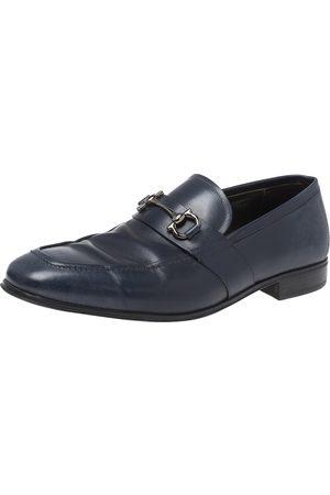 Salvatore Ferragamo Blue Leather Horsebit Loafers Size 41.5